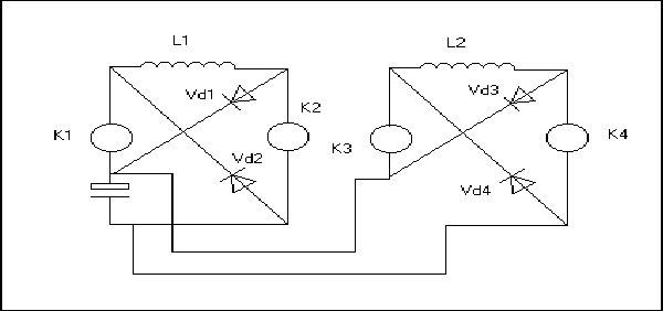 Где К1-К4 - ключи (MOP, тиристоры и т.д.) значения не имеет, зато...